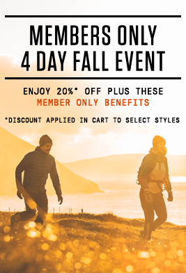 Members Only 4 Day Fall Event Enjoy 20%* Off Plus These Member Only Benefits *Discount Applied in Cart to Select Styles