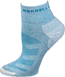 A light blue mid-ankle sock with a compressive knitted pattern.