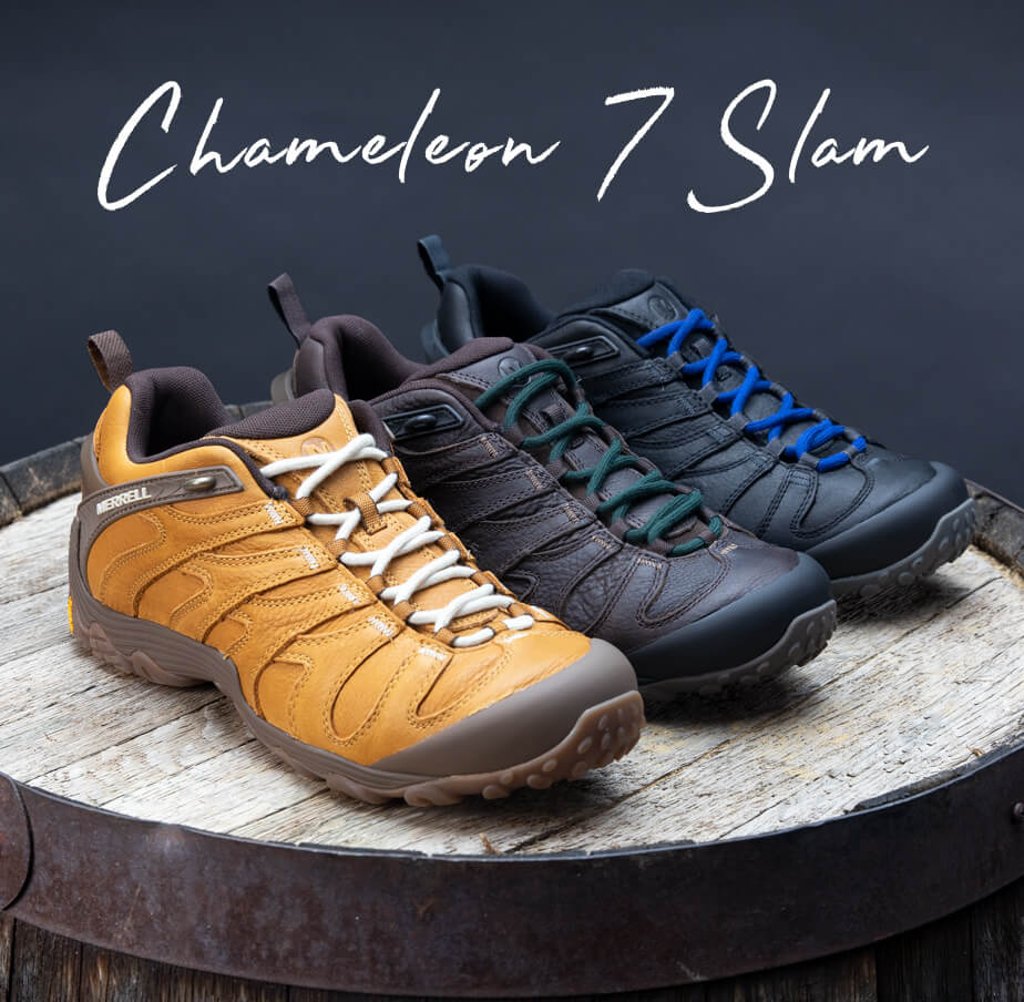 Chameleon 7 Slam. Three different-colored Chameleon 7 Slams sit atop a beer barrel.
