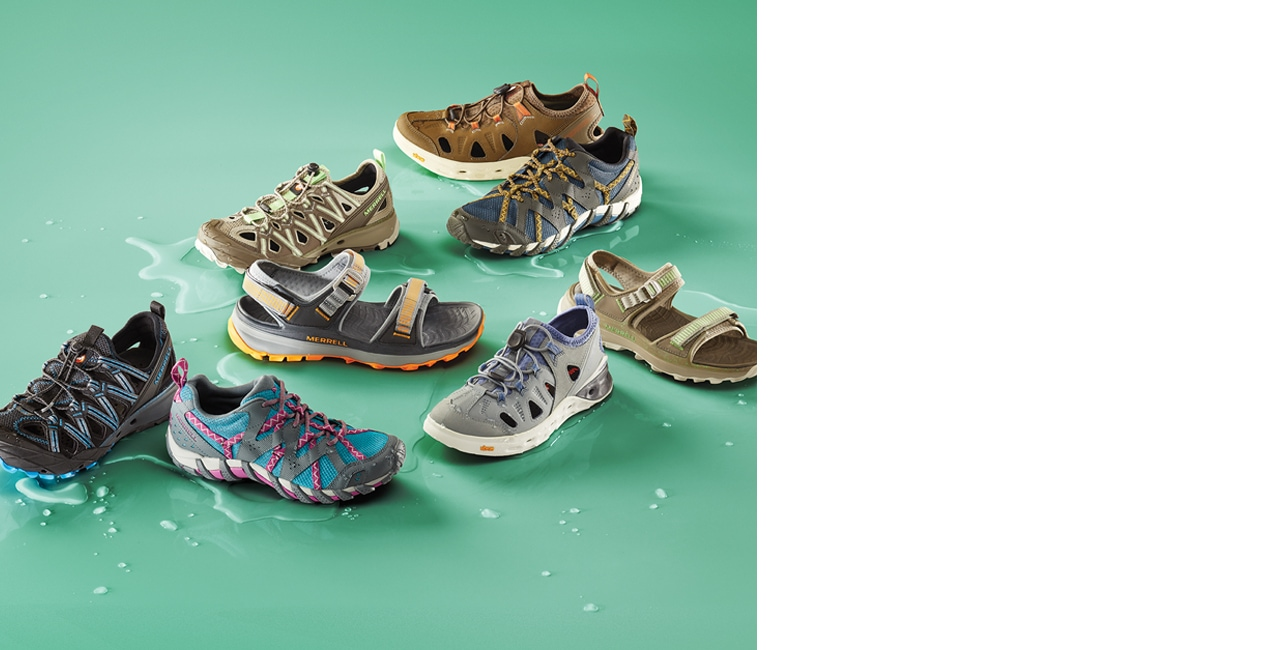 Assortment of Merrell Hyrdo-Hike shoes and sandals