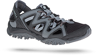 A dark blue closed-toe water shoe with lighter accents.