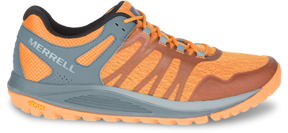 An orange trail running shoe.